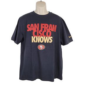 Nike San Francisco 49ers T-Shirt Mens XL Black Short Sleeve Knows