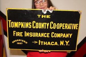 "Vintage 1920's Thompkins Fire Insurance Company Gas Oil 20"" Porcelain Metal Sign"