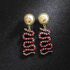Boucles d'oreilles Doré Animal Serpent Pavé Cristal Rouge Noir Baroque XX30
