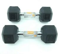 (2) NEW CAP 10 LB Pound Dumbbells Pair Rubber Coated Hex Weights 20LB Total