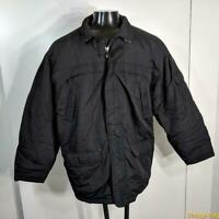 NORTH BAY Nylon Ski Jacket Coat Mens Size L Black zippered insulated