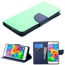 Fundas y carcasas color principal azul de piel para teléfonos móviles y PDAs Samsung