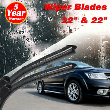 "22"" & 22"" INCH Bracketless J-HOOK Windshield Wiper Blades All Season OEM QUALITY"