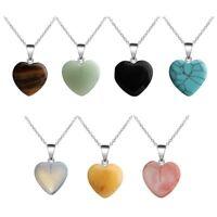 2pcs Healing Chakra Stone Natural Crystal Gemstone Heart Pendant Necklace