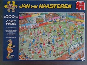 """Jan van Haasteren""""WC Women's Soccer""""a 1000pc pzl completed once from new."""
