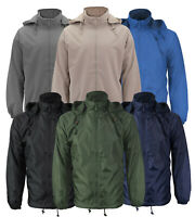 Men's Lined Hooded Windbreaker Water Resistant Polar Fleece Rain Coat Jacket