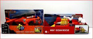 LOT 2- Matchbox MBX OCEAN RESCUE Hoovercraft Boat + Power Shift Crane HELICOPTER
