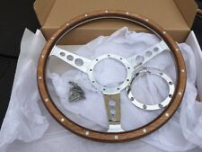 AUSTIN MINI CLASSIC woodrim Steering Wheel 14 in semi Dish Pol Spokes 9 hole