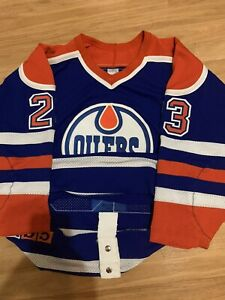 80's CCM Authentic Game Issued Tommy Lehmann Oilers NHL Hockey Jersey Blue 52