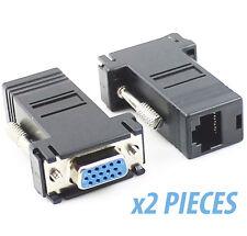 LOT 2 Adaptateurs Vga Femelle vers RJ45 Femelle Ethernet Lan Extender signal TV
