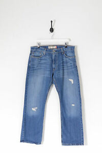 Vintage Levi's 514 Délavé Slim Fit Jeans Jambe Droite Bleu Foncé (W36 L30)