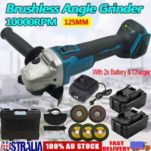Brushless Cordless Angle Grinder With 2x Li-ion Battery Charger 125mm Combo Kit