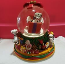 Disney Store Snow Globe Music Box Dalmatian Christmas Plays We Wish You A M C
