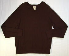 L.L. Bean Cotton Cashmere Sweater Large Men's Brown V Neck Q02