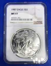 1987 Silver Eagle MS 69 NGC Amazing Silver Coin