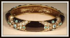 "HEIDI DAUS ""NEWPORT CHIC II"" ENAMEL AND CRYSTAL BANGLE BRACELET - HSN - M/L"