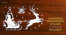 CHRISTMAS TRANSPARENT STICKER DECAL SANTA CLAUS DEER BELLS SNOWFLAKES REUSABLE