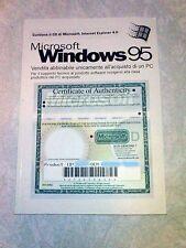 Manuale licenza Microsoft Windows 95  Italiano SO vintage Retrocomputer
