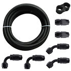 Braided 3/8 Fuel Line 6AN Oil/Gas/Fuel Hose End Fitting Hose Separator Clamp Kit
