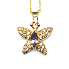 Noble Jewel Amethyst Butterfly Pendant & 925 Sterling Silver Chain Necklace