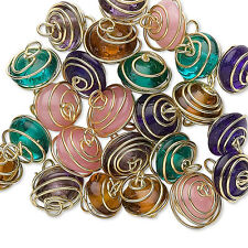 25 Assorted Glass Charm Beads Spiral Wrapped With Gold Plated Metal Wire w/Loop