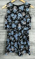 Miss Selfridge 10 Petite Blue Rose Print Black Summer Co-ord Floral Playsuit
