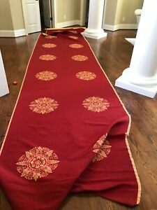 RARE SCALAMANDRE RUSTIC MEDALLION SILK LAMPAS FABRIC- RED & GOLD