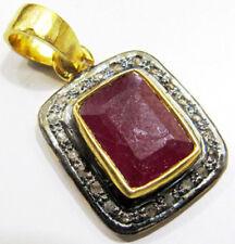 Victorian Look 925 Silver Pendant 1.15ct Rose Cut Diamond Ruby Antique