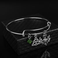 Scottish Thistle, Triquetra, Green Bead and Expandable Bangle