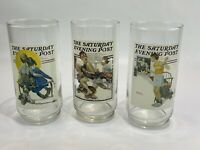 1987 Norman Rockwell Set of 3 Glasses Saturday Evening Post