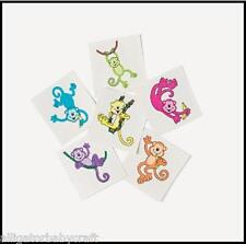 """36 Tattoos for Kids Colorful Neon Monkey 1.5"""" ABCraft"""
