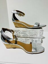 NWOT Tory Burch 'Savannah' Wedge Sandals Silver Leather Womens 8.5M MSRP $250