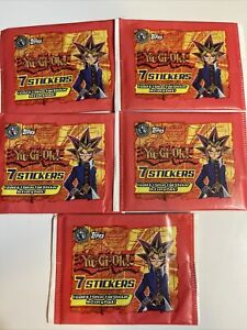 (5) Yu-Gi-Oh! Stickers - Topps 1996 1st Edition 1 Gold & 1 Silver Foil Per Pack