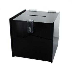 "Small 6"" x 6"" x 6"" Black Deluxe Donation Box Tip Jar Ballot Suggestion W/ Lock"