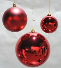 """ONE LARGE OVERSIZE RED CHRISTMAS BALL  PLASTIC SHINY 280mm ORNAMENT 11"""""""