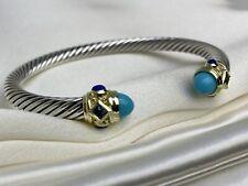 $1,200 David Yurman Renaissance Bracelet W Turquoise, Lapis Lazuli 14K Gold 5mm