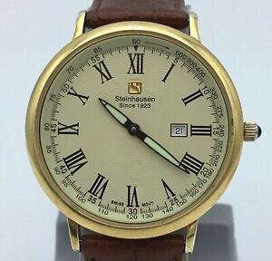 Steinhausen Men's Altdorf Watch Thin Swiss Design and Movement Gold Tone LWG1