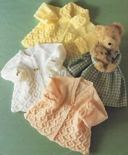 "Baby Matinee Coats Knitting Patterns DK 4ply three styles 14-18"" Premature 863"