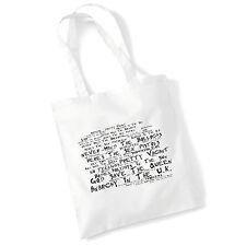 Art Studio Tote Bag SEX PISTOLS Lyrics Print Album Poster Gym Beach Shopper Gift