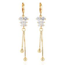 Women 18K Gold Plated Clear Cubic Zirconia CZ Long Drop Dangle Earrings Jewelry