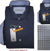 Ascot Sport Camicia Uomo Regular fit Casual Cotone Blu Manica Lunga Classica