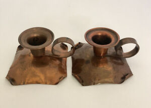 Drumgold Hammered Copper 550 Pair of Candlestick Holders
