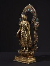 Vergoldete Bronze Statue des Buddha Shakyamuni. Tibet Figur Asiatika Feng Shui