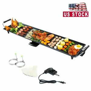 Electric Teppanyaki Table Top Grill Griddle Barbecue Plate Nonstick Camping BBQ
