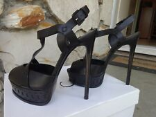 Casadei Skyhigh  T- Strap Platform Sandals Black Leather EU size 6
