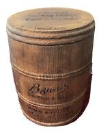 Vtg 1930s Briggs Smoking Tobacco Wood Barrel Humidor w/Lid & Humidifying Element