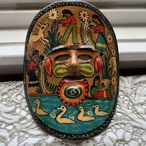 Mexican Folkart Mask, Festive Design, Clay, Handmade