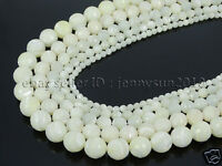 Natural White Mother Of Pearl MOP Shell Faceted Round Beads 15'' 4mm 6mm 8mm
