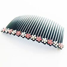 USA Hair Comb Rhinestone Crystal Hairpin French Twist Party Dancer Flower PINK 1