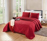 OverSize Queen Savannah Quilt Burgundy Red Bedspread Soft Microfiber Coverlet